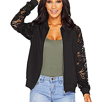 ZEVONDA Womens Long Lace Sleeve Short Jacket Coat Blazer Suit Casual Outwear, Black, US XS=Tag S