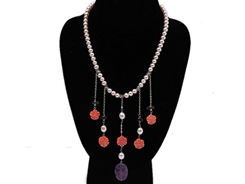 Natural Flower Coral Pink (JYX Natural 6-7mm White Round Freshwater Pearl and Pink Coral Flower Amethyst Necklace)