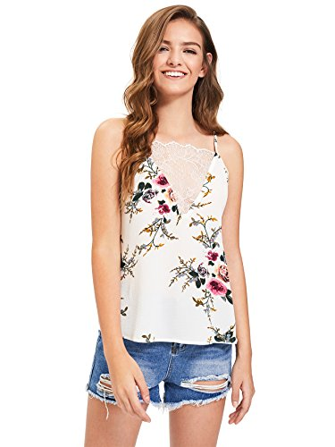 Romwe Women's V-Neck Spaghetti Strap Sleeveless Floral Print Tank Top White L ()