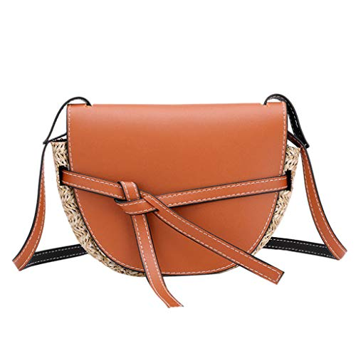 (Bow Tie One Shoulder Messenger Bag丨Elegant Straw Hit Lace-Up Phone Bag丨Casual Crossbody Bags for Women(Brown))