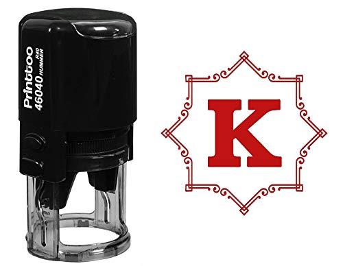 Printtoo Office Stationary Octagon Celtic Swirl Frame K Alphabet Monogram R-40 Self Inking Rubber Stamp ()