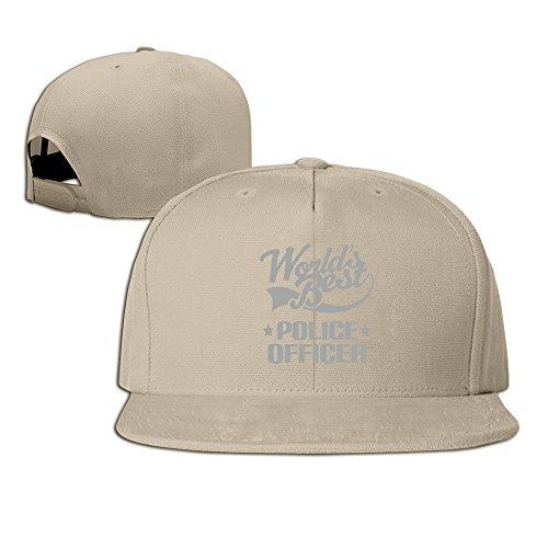 [Vintage 100% Cotton Hat Men Women World Best Police Officer Custom Adjustable Cap Natural] (Cheap Police Hats)