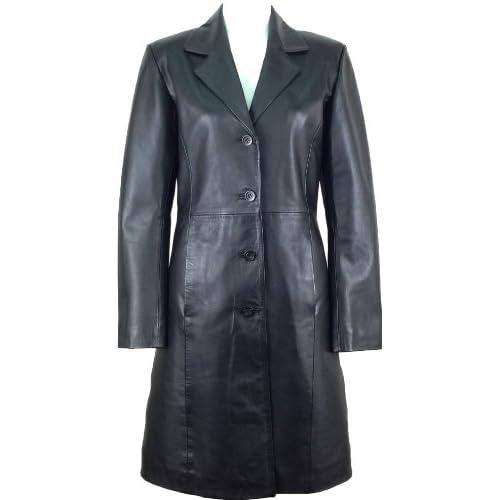 Unicorn Womens Classic Long Coat Real Leather Jacket Black #AK
