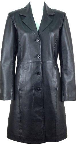 Long Black Ladies Leather Coat - 6
