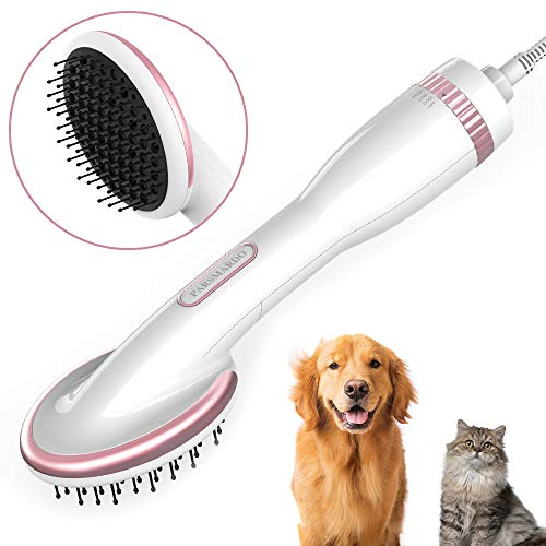 HANMEI Pet Hair Dryer for Dogs Cats, 2 in 1 Pet Gooming Blower Dryer 1000W with Low Noise for for Medium Small Pets (White)