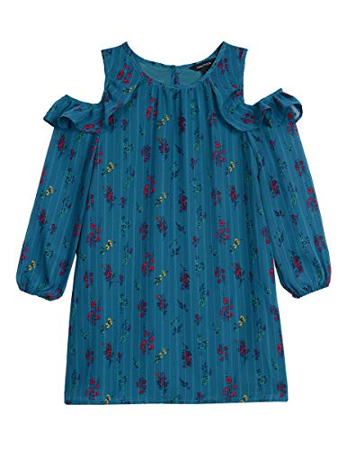 Nautica Toddler Girls Holiday Party Cold Shoulder Dress, Dark Turquoise, 3T