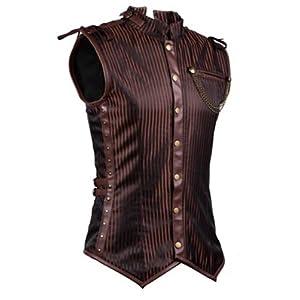 Charmian Men's Spiral Steel Boned Victorian Steampunk Gothic Waistcoat Vest