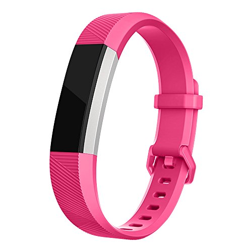 Fitbit Alta Band, UMTELE Soft Replacement Wristband with Metal Buckle Clasp for Fitbit Alta Smart Fitness Tracker, Fuchsia
