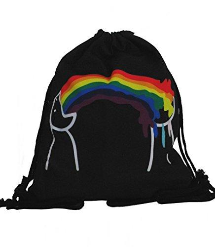 Rainbow Vomit Regenbogen Turnbeutel Rucksack