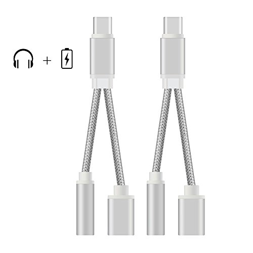 2PCS 2 in 1 USB C Type-C to 3.5mm Audio Jack Headphone Adapt
