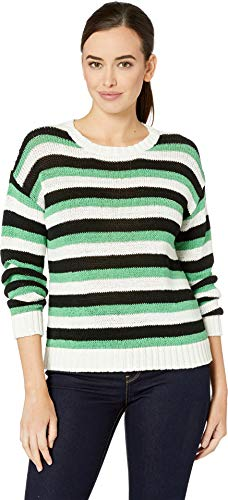 Two by Vince Camuto Women's Long Sleeve Stripe Color Block Crew Neck Sweater Pearl Ivory ()