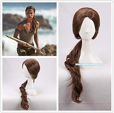 Peluca de Halloween Movie Tomb Raider Lara Disfraces de pelo de cola de caballo marrón Disfraces de juego de roles de Alicia Vikander Un tamaño marrón