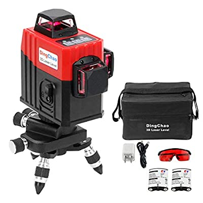 DINGCHAO Laser Level 360 Self Leveling 12 Lines 3D 3 x 360 Cross Line Three-Plane Alignment Leveling Vertical Horizontal Laser Red Beam Pulse Mode with 2 batteries Building Construction Tools