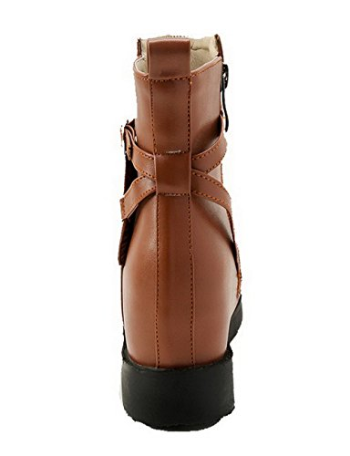 AgeeMi Shoes Women Zipper Kitten-Heels Round Closed Toe PU Solid Low-Top Boots Dark Brown l3YYdS