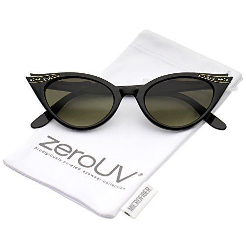 zeroUV - Women's Retro Rhinestone Embellished Oval Lens Cat Eye Sunglasses 51mm (Black / - Eye Sunglasses Cat Rhinestone