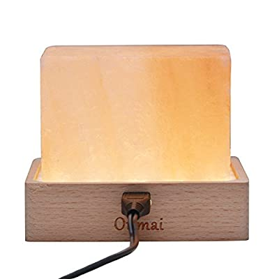 LED Himalayan Pink Salt Rock Lamp, Safe LED Warm Bulbs Output 12v Desktop or Tabletop Air Purifying Natural Crystal Block LED Night Light with Dimmable Cord