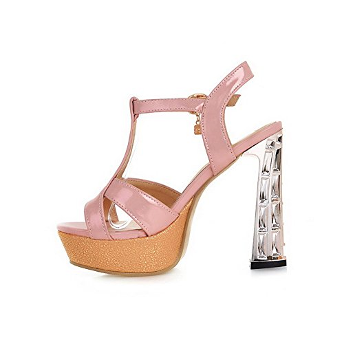 AllhqFashion Women's Buckle Open Toe High Heels Pu Assorted Color Sandals Pink GVDP8y1