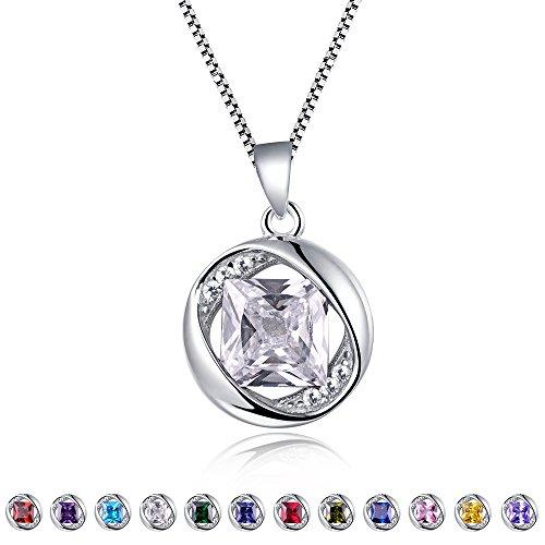 Stones Aurora (Aurora Tears Created-White-Sapphires Pendant April Birthstone Necklace for Women 17.7