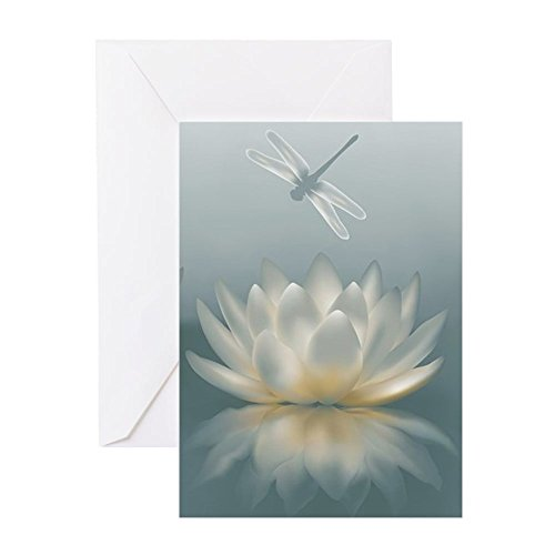 Card Note Dragonfly - CafePress Lotus And Dragonfly Greeting Card, Note Card, Birthday Card, Blank Inside Glossy