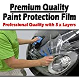 TOTAL HOME Vinyl Wrap 3 Layers Car Paint Protection Invisible Scratches Film (60x24-inches, Clear)