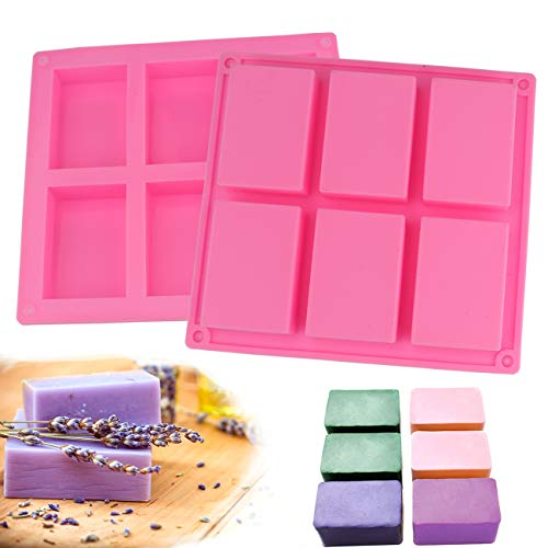 Sunnygalde 6 Cavities Silicone Soap Mold (2 Pack), Baking Mold Cake Pan, Biscuit Chocolate Mold, Ice Cube Tray