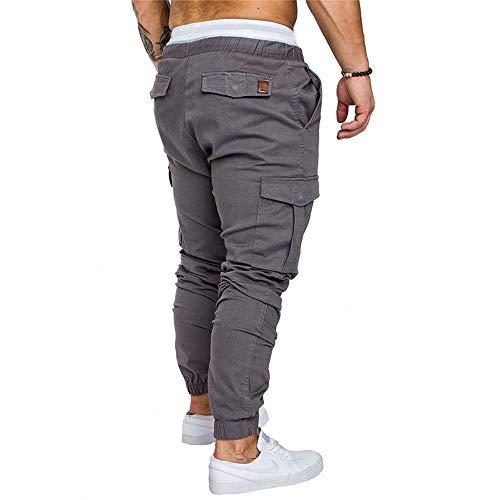 Slim Chinos Hombre Skinny Jeans Gris Pantalones de Cordón Elástica Fit Vestir Combat Pantalones para Cintura con 8q8Iwt