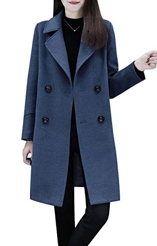 chouyatou Women's Basic Essential Double Breasted Mid-Long Wool Blend Pea Coat (Large, Blue)