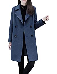 d1f4a0922d3b Women's Basic Essential Double Breasted Mid-Long Wool Blend Pea Coat