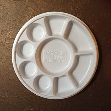 Amazon.com: Nine Compartment Disposable Plastic Plate or Thali - 50 ...