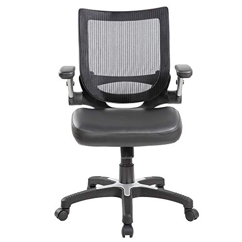 Anji Modern Furniture 8275BK Ergonomic Mid Back Mesh Office Flip-Up Arms Swivel Task Leather seat Desk Computer Guest Reception Chairs (Black), Large,