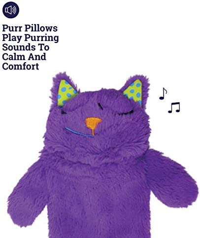 Petstages Purr Pillow Cat Toy For Nightime Play & Calm Comfort Featuring Soothing Noisemaker, Soft Plush Material, Medium, Purple 6