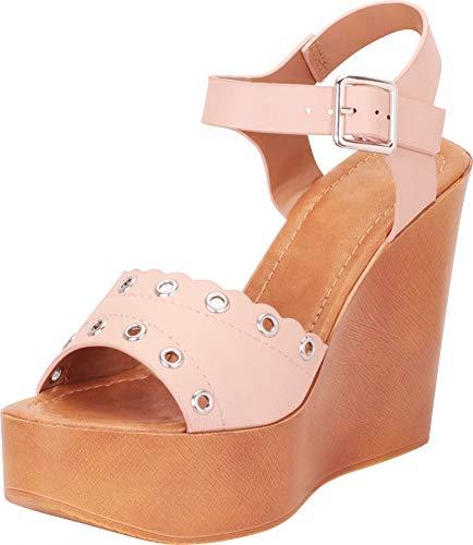 - Cambridge Select Women's Retro 70s Open Toe Scalloped Eyelet Chunky Platform Wedge Sandal,6 B(M) US,Blush PU