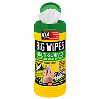 "Big Wipes 60020003 Industrial Bio Pre-Moisten Industrial Strength Biodegradable Cleaning Wipe, 12"" Length x 8"" Width (Tub of 80)"