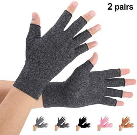 Brace Master 2 Pairs Arthritis Gloves, Compression Gloves Support and Warmth for Hands, Finger Joint Suitable for Rheumatoid, Osteoarthritis, RSI, Carpal Tunnel, Women