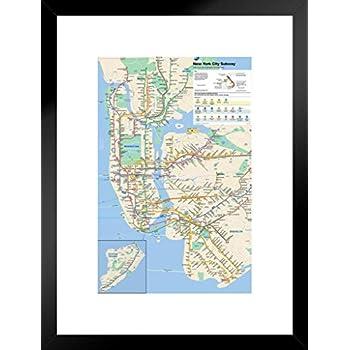 New York City Subway Map Wall Paper.Amazon Com Pyramid America New York City Subway Map Matted Framed