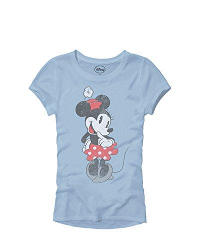 - Disney SHY Minnie Mouse Classic Vintage Disneyland World Adult Women's Juniors Slim Fit Graphic Tee T-Shirt Apparel (Light Blue, Junior's Large)