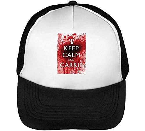 Keep Calm Carrie Bloody Gorras Hombre Snapback Beisbol Negro Blanco