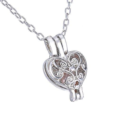 HooAMI Love Wish Pearl Necklace Vine Heart Pendant Necklace 18.5