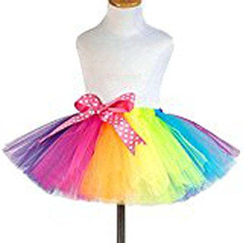 Little Girls Layered Tiered Rainbow Ruffle Tutu Skirt Puffy Gown Bubble Skirt (Large)