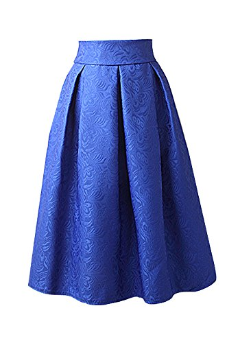 Womens Elegant High Waist Floral Jacquard Skirt Vintage A line Pleated Full (Floral Jacquard Skirt)