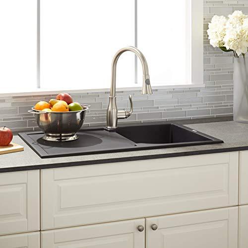 "Signature Hardware 425907 Allardt 34"" Drop-In Granite Composite Sink with Drainboard"