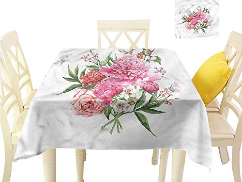(WilliamsDecor Square Tablecloth Floral,Spring Wildflower Bouquet Table Cover W 54