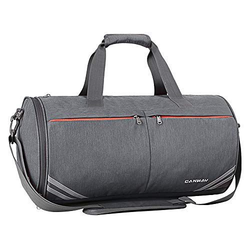 Sport Gym Bag, Canway 30L Sport Duffel Bag for Men Women, Travel Weekender Bag with with Wet Pocket & Shoes Compartment, Adjustable Shoulder Strap Included, Grey