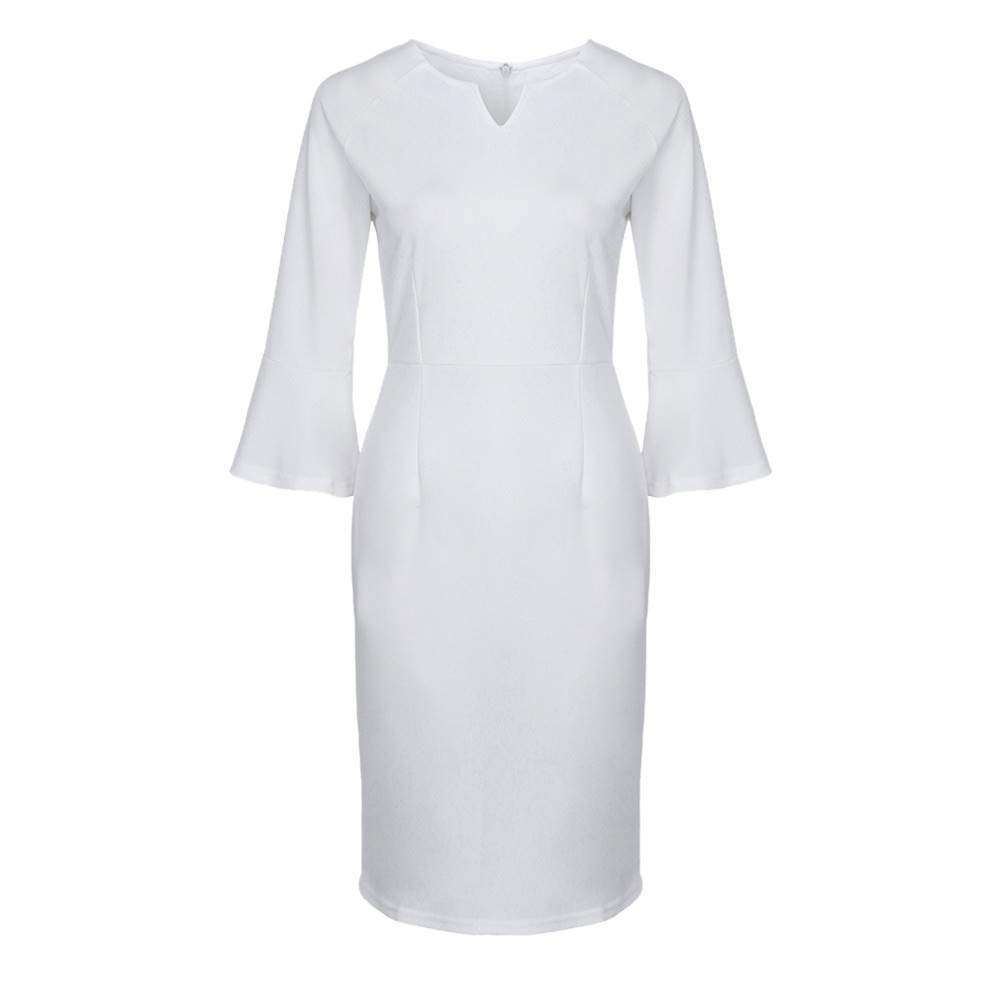 Womens Dresses Women's Half Sleeve Sexy V-Neck Flounce Bell Sleeve Office Work Party Mini Dress White