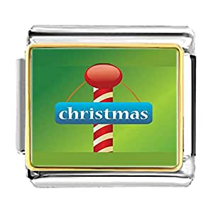 Chicforest Gold Plated Christmas Candy Cane Bracelet Link Photo Italian Charm