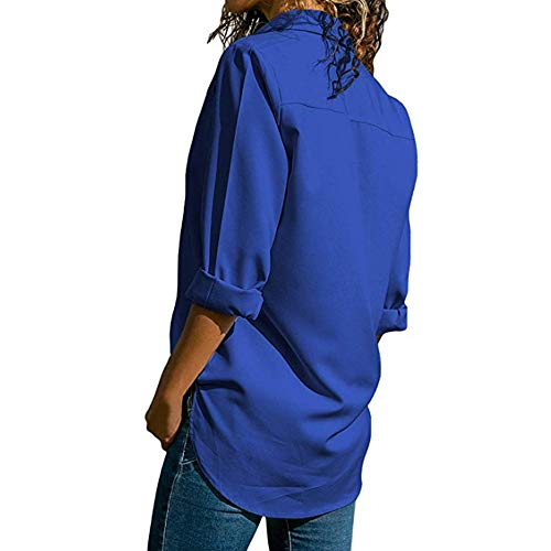 V Longue Loose Femme Printemps T Automne Chic Decha Shirt Blouse Chemisier Fonc Cou Manche Top Bleu Chemise Casual zwIqXzvSp