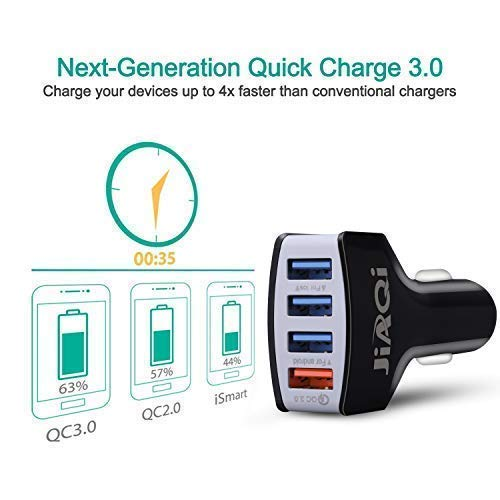Note 5//4,iPhone X//8//7//6s//Plus Jiaqi Car Charger, Quick Charge 3.0, 4-Port Fast Car Charger Compatible with Almost All USB-Powered Devices White Galaxy S7//S6//Edge//Plus Jiaqi Hengda iPad Pro//Air 2//Mini