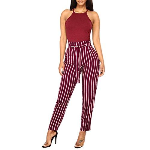 Capri Guess Overalls - GoodLock Women High Waist Harem Pants Women Bowtie Elastic Waist Striped Casual Pants (Wine, Large)