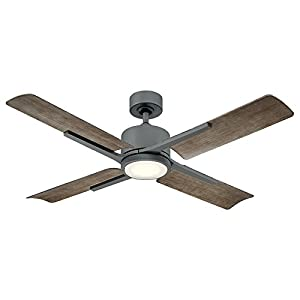 Modern Forms FR-W1806-56L-GH/WG Cervantes 56 Inch Four Blade Indoor/Outdoor Smart Fan with Six Speed DC Motor and LED Light in Graphite Finish Works with Nest, Ecobee, Google Home and IOS/Android App,