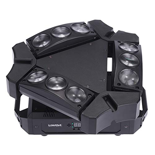 Lixada 9x10W 9LED 16/48 Channel Full Color DMX512 Sound Control Auto Rotating Mini Triangle Spider Lamp Beam Stage Light for Disco KTV Club -